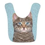 Gray Tabby Cat Polyester Baby Bib