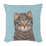 Gray Tabby Cat Woven Throw Pillow