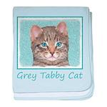 Gray Tabby Cat baby blanket