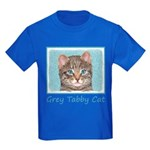 Gray Tabby Cat Kids Dark T-Shirt
