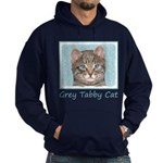 Gray Tabby Cat Hoodie (dark)