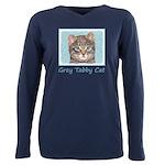 Gray Tabby Cat Plus Size Long Sleeve Tee