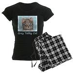 Gray Tabby Cat Women's Dark Pajamas