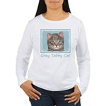 Gray Tabby Cat Women's Long Sleeve T-Shirt