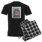 Gray Tabby Cat Men's Dark Pajamas