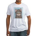Gray Tabby Cat Fitted T-Shirt