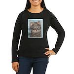 Gray Tabby Cat Women's Long Sleeve Dark T-Shirt
