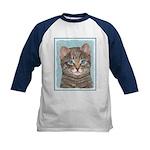 Gray Tabby Cat Kids Baseball Tee