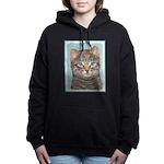 Gray Tabby Cat Women's Hooded Sweatshirt