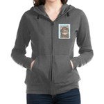 Gray Tabby Cat Women's Zip Hoodie