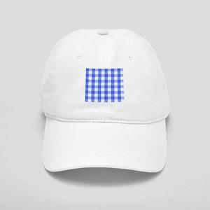 Classic Royal Blue Gingham Art Design Pattern Cap