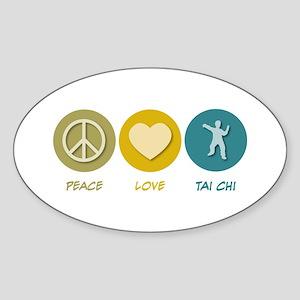 Peace Love Tai Chi Oval Sticker