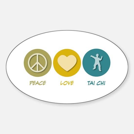 Peace Love Tai Chi Oval Decal