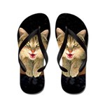 Mad Yellow Tabby Cat Flip Flops
