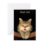 Mad Yellow Tabby Cat Greeting Card