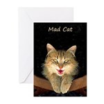 Mad Yellow Tabby Cat Greeting Cards (Pk of 20)