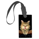 Mad Yellow Tabby Cat Large Luggage Tag