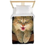 Mad Yellow Tabby Cat Twin Duvet Cover