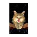 Mad Yellow Tabby Cat Rectangle Car Magnet