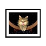 Mad Yellow Tabby Cat Framed Panel Print