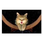Mad Yellow Tabby Cat Sticker (Rectangle)