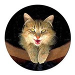 Mad Yellow Tabby Cat Round Car Magnet