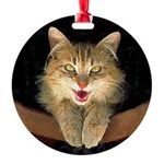 Mad Yellow Tabby Cat Round Ornament