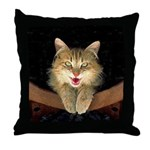 Mad Yellow Tabby Cat Throw Pillow