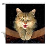 Mad Yellow Tabby Cat Shower Curtain