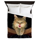 Mad Yellow Tabby Cat Queen Duvet