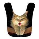 Mad Yellow Tabby Cat Polyester Baby Bib