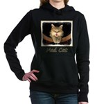 Mad Yellow Tabby Cat Women's Hooded Sweatshirt