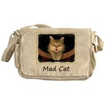 Mad Yellow Tabby Cat Messenger Bag