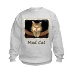 Mad Yellow Tabby Cat Kids Sweatshirt