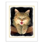 Mad Yellow Tabby Cat Small Poster