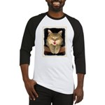 Mad Yellow Tabby Cat Baseball Tee
