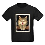 Mad Yellow Tabby Cat Kids Dark T-Shirt