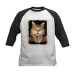 Mad Yellow Tabby Cat Kids Baseball Tee