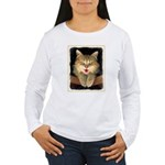 Mad Yellow Tabby Cat Women's Long Sleeve T-Shirt