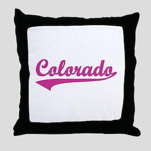Colorado - Pink Retro Throw Pillow