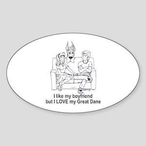 C boyfriend Great Dane Oval Sticker