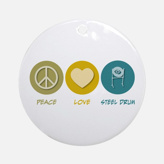 Peace Love Steel Drum Ornament (Round)