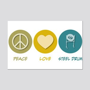 Peace Love Steel Drum Mini Poster Print