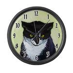 Tuxedo Cat Large Wall Clock