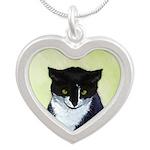 Tuxedo Cat Silver Heart Necklace
