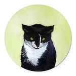 Tuxedo Cat Round Car Magnet