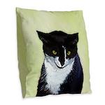 Tuxedo Cat Burlap Throw Pillow