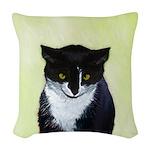 Tuxedo Cat Woven Throw Pillow
