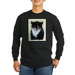 Tuxedo Cat Long Sleeve Dark T-Shirt