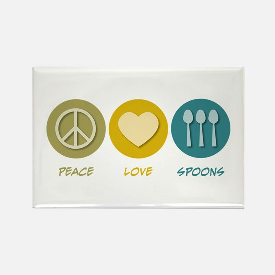 Peace Love Spoons Rectangle Magnet